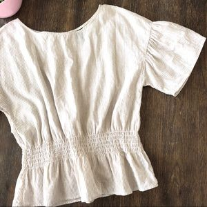Worthington linen blend ruffle top cottagecore